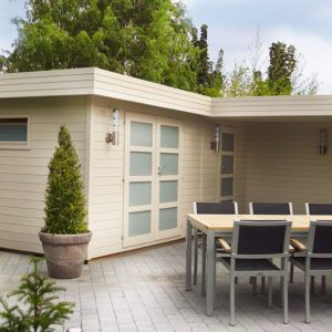 Abri de jardin Modern panneaux en bois et de style moderne chez Brin de Jardins à Esvres